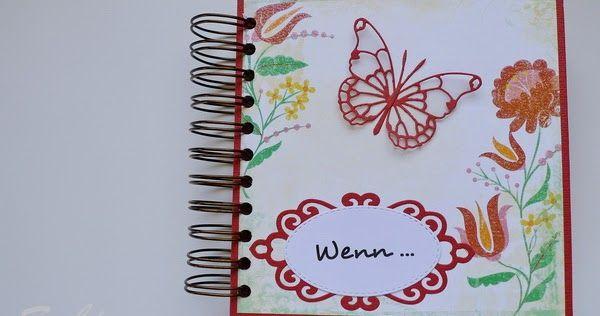 Hallo, liebe Leser!   Wieder durfte ich zu einer Hochzeit ein Wenn-Buch gestalten.  Vorgabe waren Dunkelrot dabei und Schmetterlinge.   Acht...