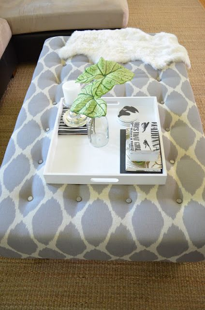 How to turn a coffee table into an ottoman. fabric to use: Ikat dot in Grey found here:http://www.tonicliving.com/Ikat-Dot-Grey-P2227.aspx