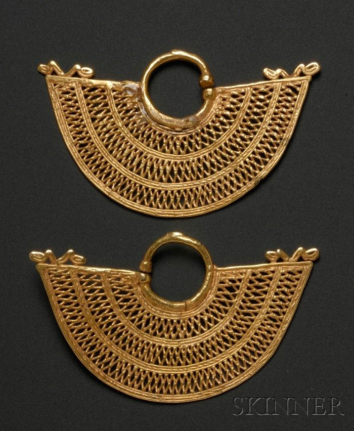 Colombia ~ Sinu   Gold Earrings   Pre-Columbian; ca. 800 - 1500 AD   1,304$ ~ Sold