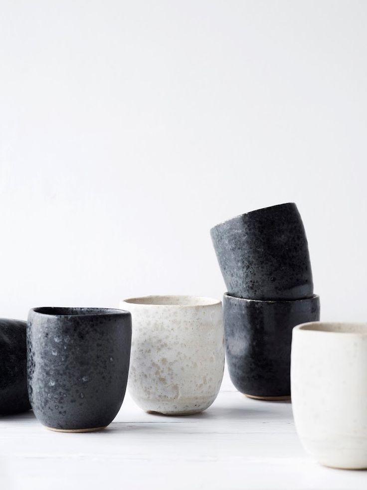 Black + white ceramic cups