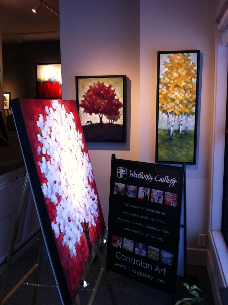 New Connie Geerts paintings hanging in the gallery window. #canadianart