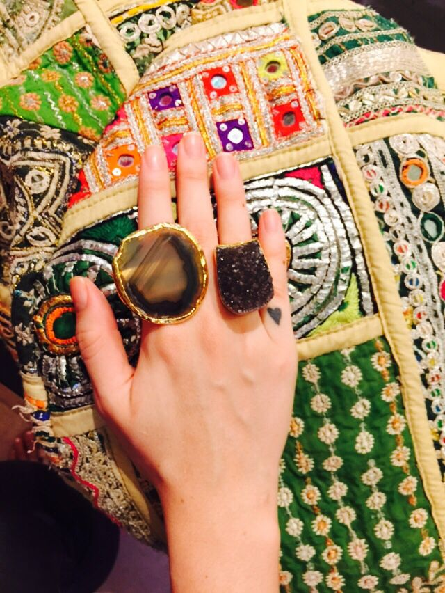 Banjara bag and stunning rings : amethyst druzy and agate