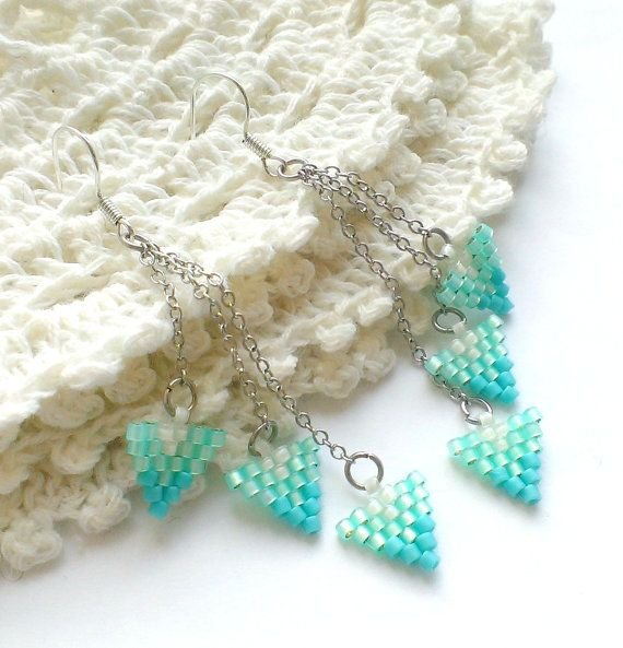 Turquoise Beaded Earrings - Seed Bead Earrings - Turquoise Earrings - Holiday gift - Turquoise Jewelry - Chain Earrings Triangle Mint Green