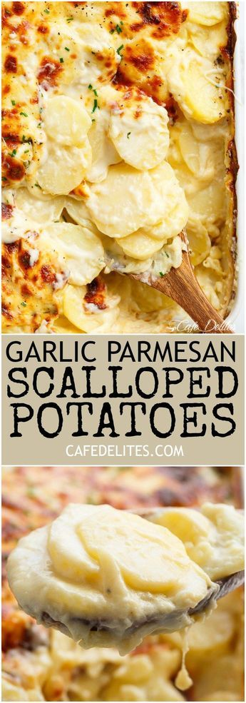 Garlic Parmesan Scalloped Potatoes layered in a creamy garlic sauce with parmesan.  Thinking I might make this 4 cheese by incorporating asiago and fontina?