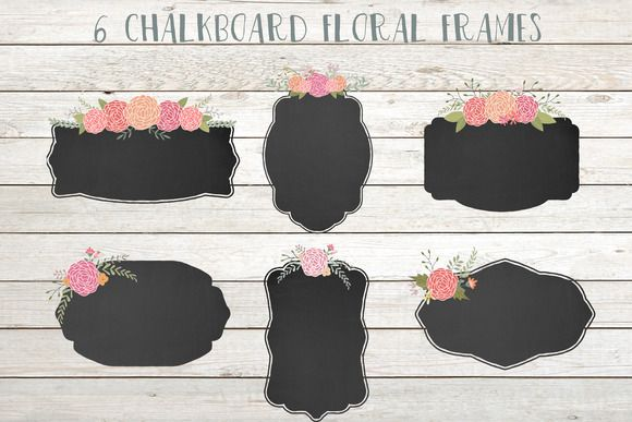 Check out Chalkboard floral frames clip art by The little cloud on Creative Market