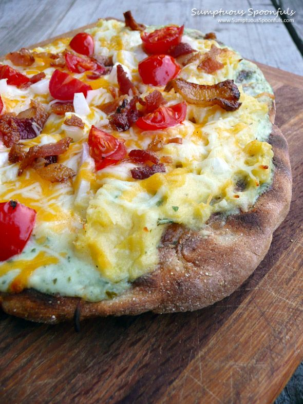 Grilled Bacon Ranch Mashed Potato Pizza ~ Sumptuous Spoonfuls #pizza #recipe