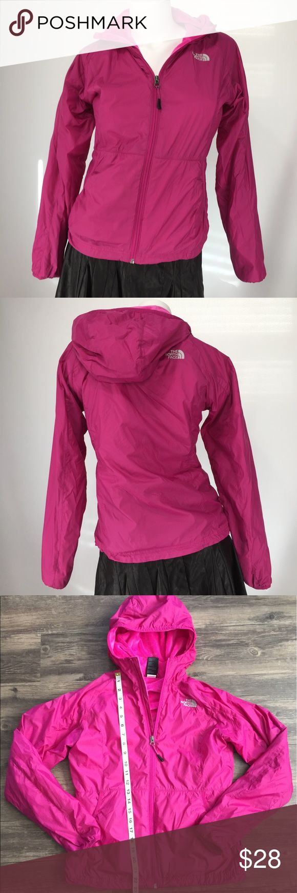 NORTH FACE Pink Fleece Lined Windbreaker! THE NORTH FACE Pink Fleece Lined Windbreaker with hood! Features fleece lining including pockets, sleeves and hood. Drawstring bottom. Zip packets. THE NORTH FACE logo on front and back. Great condition. The North Face Jackets & Coats