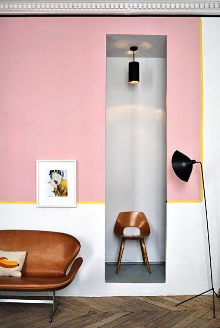 Pastel Fifties : Peinture rose et blanche + Liseret jaune