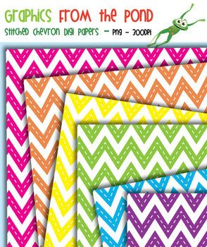 Stitched Chevron Paper Pack - Graphics for Teachers FREE