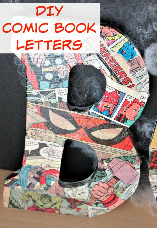 DIY Comic Book Letters - If you're looking to add a little more superhero to your life, make these easy DIY Comic Book Letters! Perfect for a wall or shelf decoration! #AvengersUnite [ad]