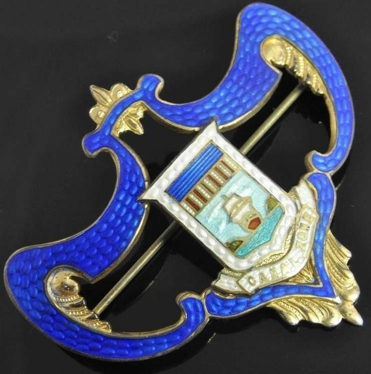 Sterling Silver Enamel Canal Zone Isthmus of Panama Crest Brooch