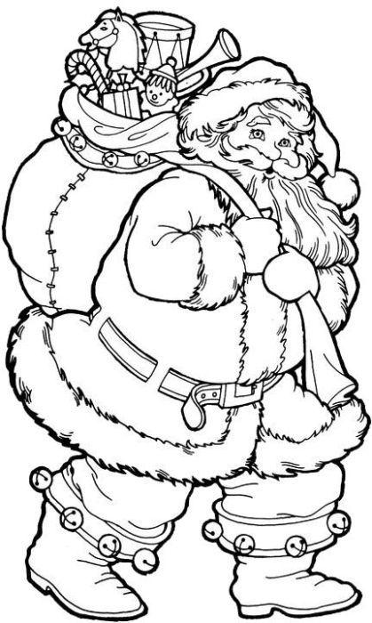 4. Mikulásos színező<br>Puttonyában ajándékokat cipelő Mikulás