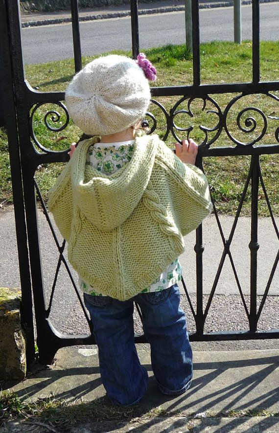 PONCHO pdf KNITTING PATTERNS - newborn to 2 years - cabled poncho - pdf instant download