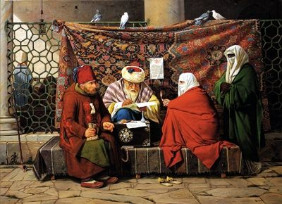 Rorbye, Martinus (1803-1848) - 1837 A Turkish Notary Drawing up a Marriage Contract in Front of the Kilic Ali Pasha Mosque, Tophone, Constantinople (Christie's London, 2000)