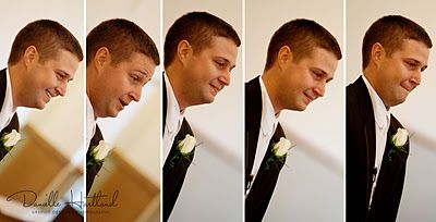 Groom's reaction as the bride walks down the aisle. Much better than just the single photo.