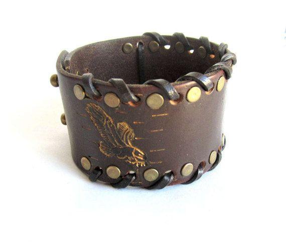 Mens eagle bracelet mens leather cuff bracelet by Bravemenjewelry