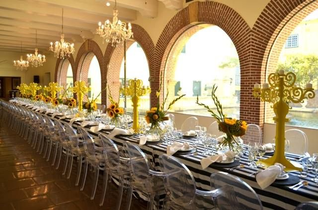 A buttercup yellow luncheon at the Castle of Good Hope. Perfect for a bridal shower or ladies lunch! #decor #events