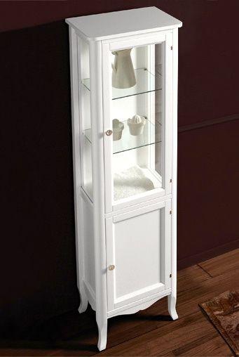 Hoge Witte Badkamerkast.Ksm0004 Klassieke Hoge Badkamerkast Vitrinekast Wit Landelijke