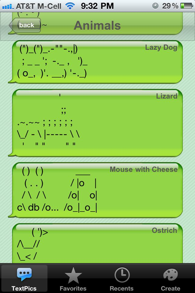 cool text symbols animals | ... - Creative SMS Art for iPhone Texting - Plus, Win a Promo Code