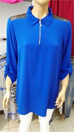 Omuz  ve Sırt Tül Detaylı Fermuarlı Bluz
