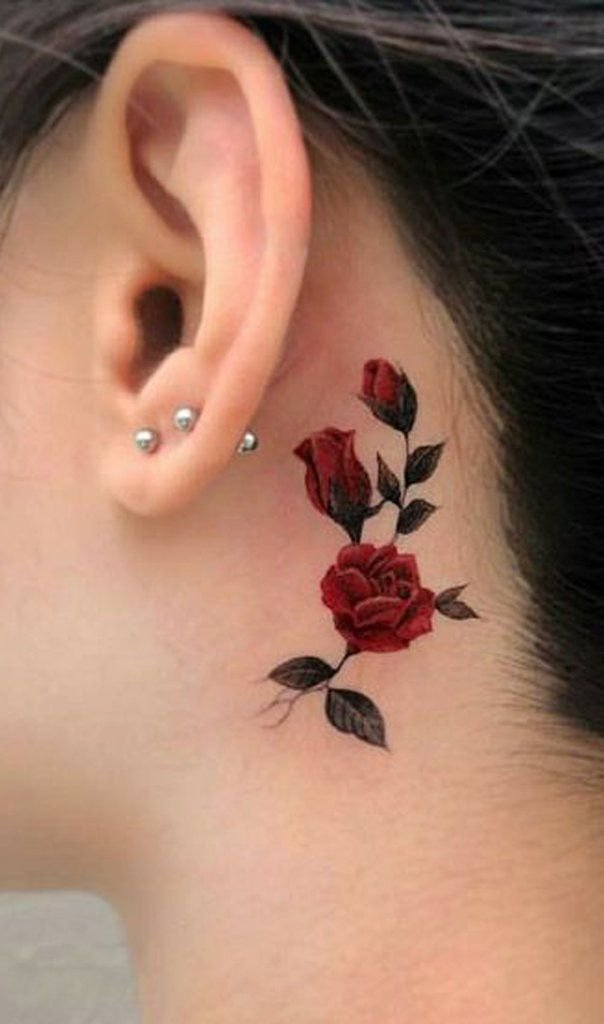 2a0ec0a34 Red Rose VIne Back to the Ear Face Tattoo Ideas for Women - rosa roja de  nuevo de las ideas del tatuaje de la oreja - www.MyBodiArt.com