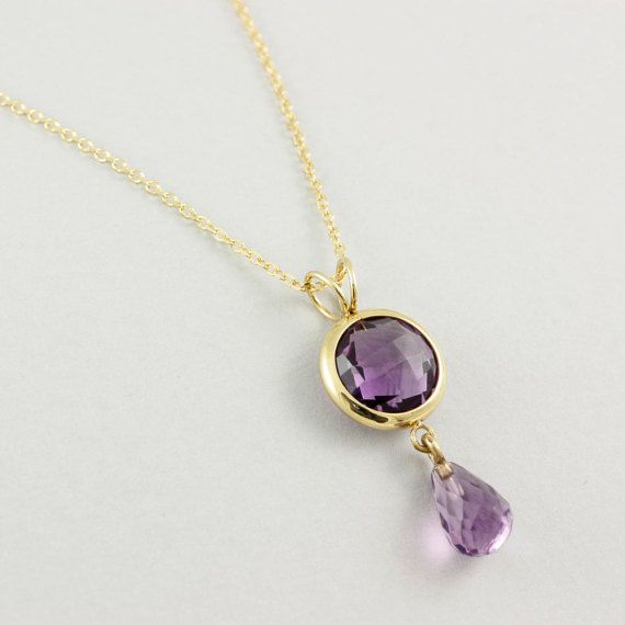 Purple amethyst necklace gift for her bridal necklace by kykloslab
