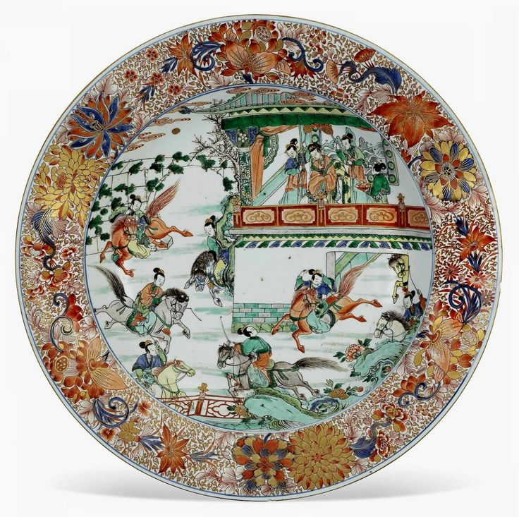 Large verte-Imari dish with a scene depicting the Yang Family Lady Generals practising their equestrian skills in a pavilion garden by Anonymous from China (Kangxi Period), ca. 1715-1735, Private collection, from the collection of Izabela Lubomirska in Łańcut Castle