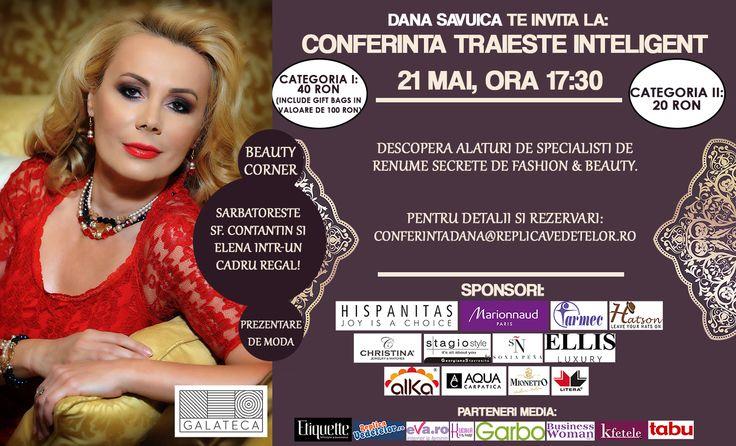 """Inscrie-te in concurs http://tinyurl.com/pevmt3z pana pe 21 mai, la ora 11:00 si ai sansa de a castiga una din cele 5 invitatii la evenimentul Danei Savuica, """"Traieste Inteligent""""!"""