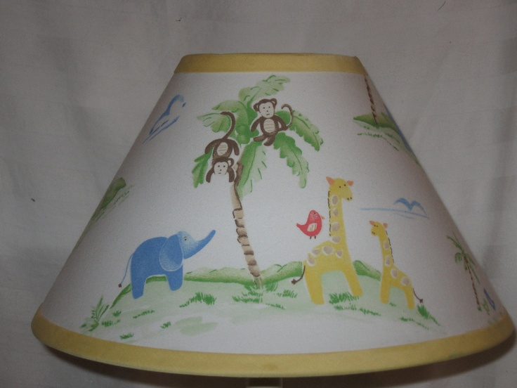 Jungle friends lamp shade m2m pottery barn kids 2600 for Jungle floor lamp for nursery