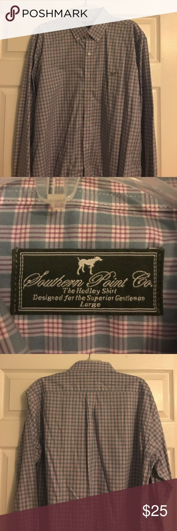 Southern Point Co. Long Sleeve Button Down Shirt Southern Point Co Sport Shirts are crafted for the superior gentleman seeking to exemplify the southern lifestyle. We have combined luxury and style in our shirts. Designed with the highest blend of lightweight Pima cotton, the Hadley Shirt sets itself apart from others.   custom designed pattern, 100% Pima Cotton, 60/1 2 ply, embroidered Greyton™ logo, laser engraved buttons extra button closure to make sure shirt stays tucked in, imported…