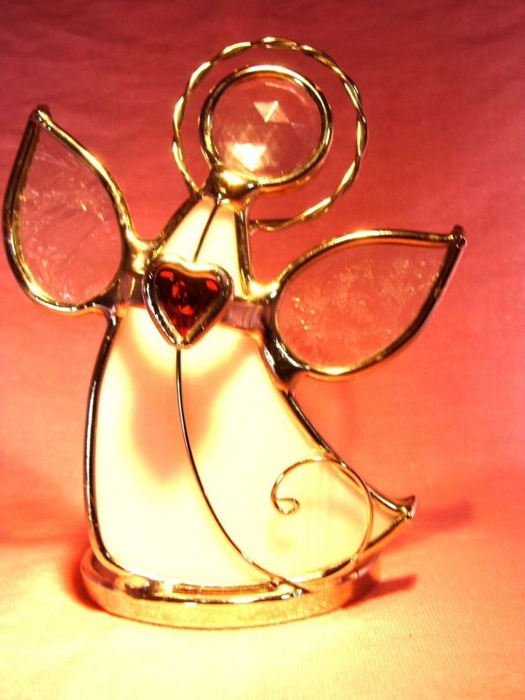 Made by Irish Images White Stained Glass Angel Red Heart Tea Light Candle Holder