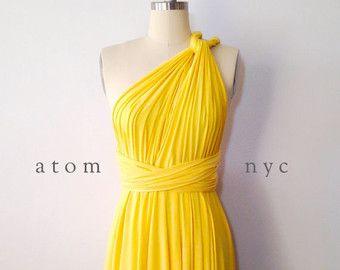 Giallo infinito breve vestito convertibile formale Multiway Wrap Dress damigella d'onore vestito Toga vestito abito da Cocktail Abito da sera matrimoni
