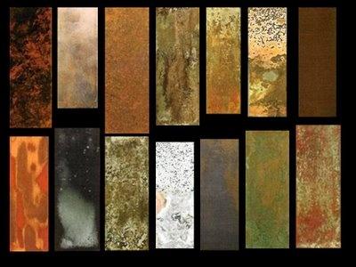 Pátinas oleosas:  Betún de judea, ideal para dar efecto de envejecimiento...su componente es la pintura asfáltica diluída, puede usarse también mezclado con cera en pasta para pisos para crear una pátina cremosa  óleo puro, diluído con aguarrás o trementina óleo + cera -barniz + óleo + aguarrás o trementina pintura sintética diluída cera + pigmentos (tierras o purpurinas)
