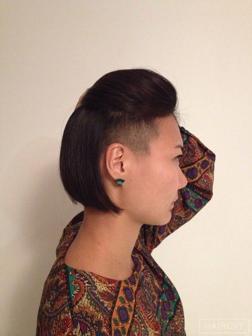 bob disconnected undercut shaved asian hairstyle | Hair ...
