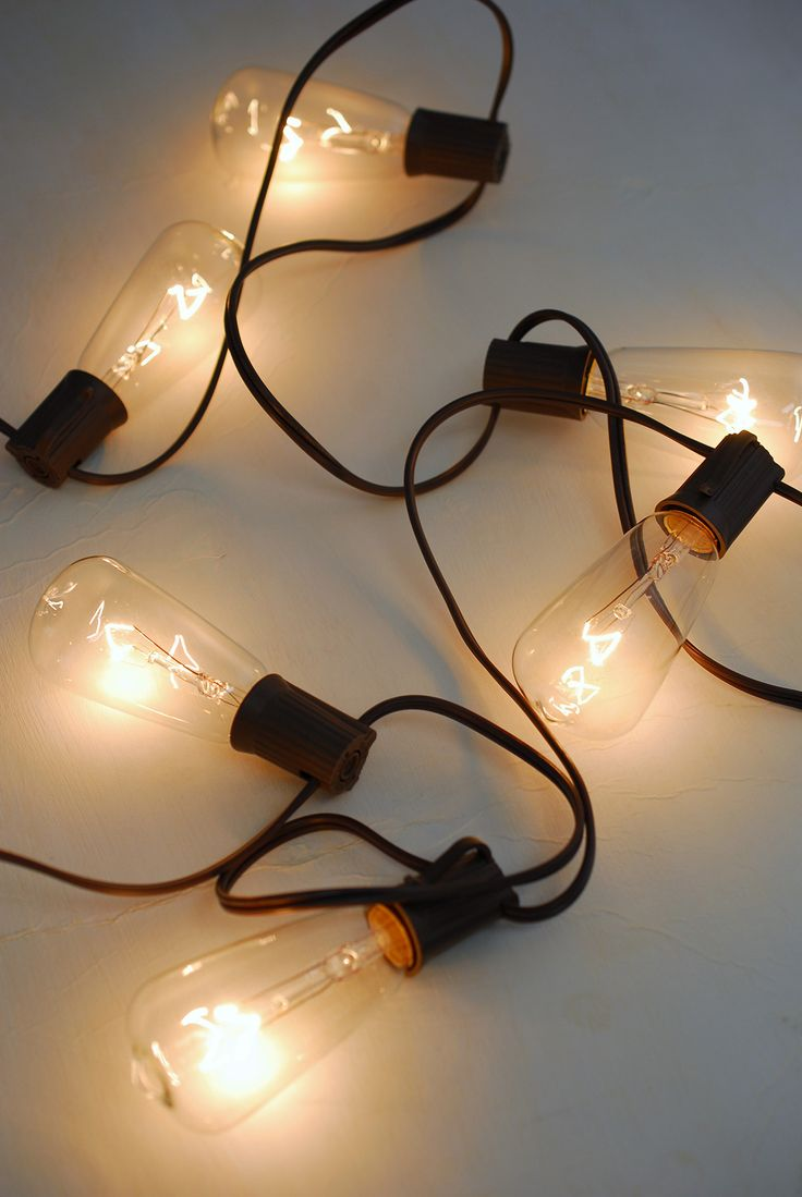Patio Cafe String Lights 10ft, 10ct- ST40 Clear Bulbs, Brown Cord Crafts, Patio and String lights