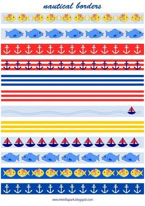 MeinLilaPark – DIY printables and downloads: Free printable nautical planner stickers : borders - fake masking tape - freebie