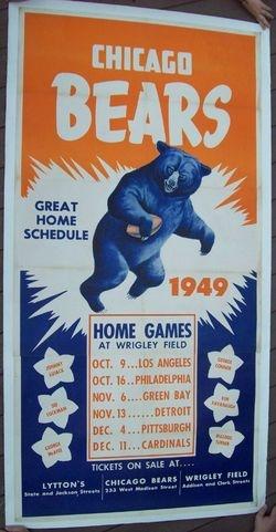 1949 Chicago Bears Schedule Poster Original Unrestored