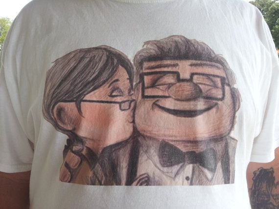 Up Ellie and Carl Fredricksen  Custom T-shirt  by PolkadotLadybugs