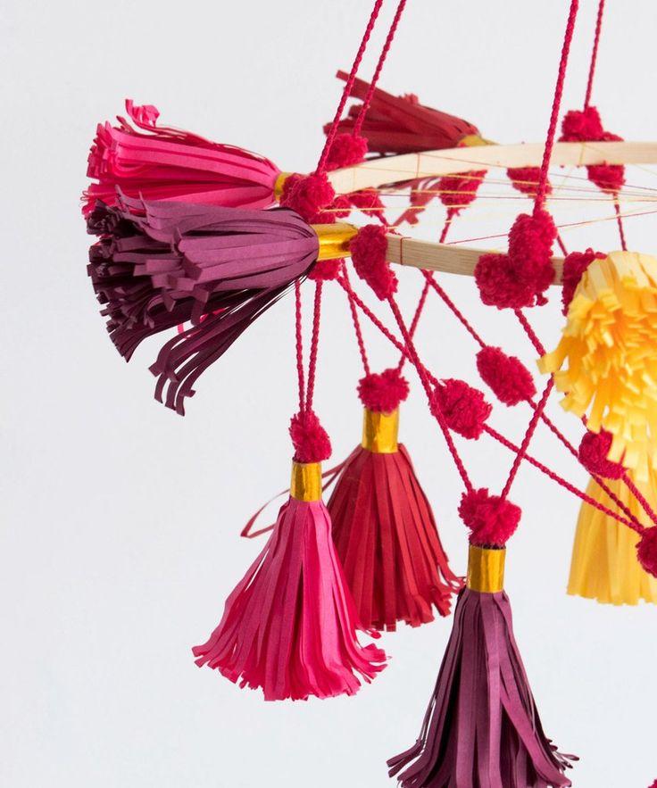 Folk Tassel Chandelier (Pink)