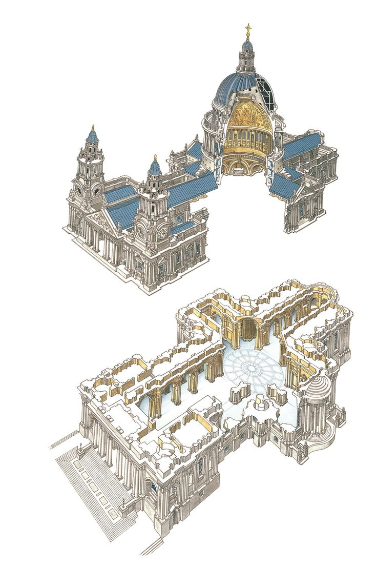 Schematic drawing of St. Paul's Cathedral, London Christopher Wren (Architect) Designed 1673, built 1675-1710