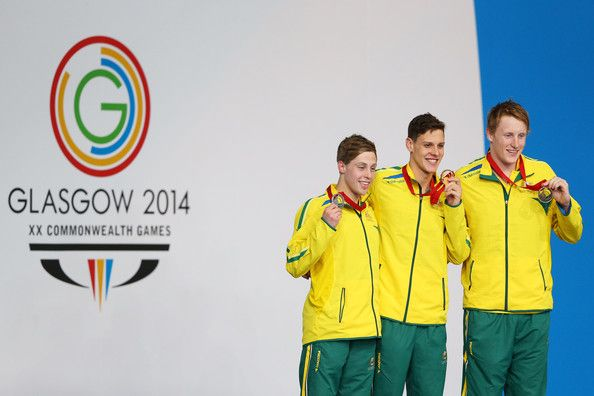 Josh Beaver Photos Photos - Gold medallist Mitch Larkin of Australia poses with silver medallist Josh Beaver (L) of Australia and bronze medallist Matson Lawson of Australia during the medal ceremony for the Men's 200m Backstroke Final at Tollcross International Swimming Centre during day five of the Glasgow 2014 Commonwealth Games on July 28, 2014 in Glasgow, Scotland. - 20th Commonwealth Games: Swimming