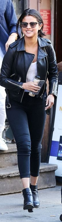 Who made Selena Gomez's black leather jacket, skinny jeans, and sunglasses?