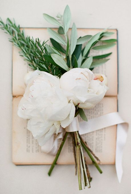 ******Brides.com: 12 Romantic Peony Wedding Bouquets . A Simple Peony and Herb Wedding Bouquet. Just a few stems and a spray of thyme is all this simple peony wedding bouquet needs to make it ideally suited for a rustic Tuscan wedding. See more bohemian wedding bouquets.