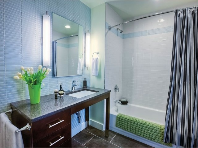 Horizontal glass tiles behind mirror(s) and as accents in shower and around bathtub.