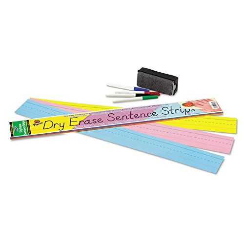 Reusable #strips feature a dry-erase surface on one #side with a ruled red baseline and dotted midline.