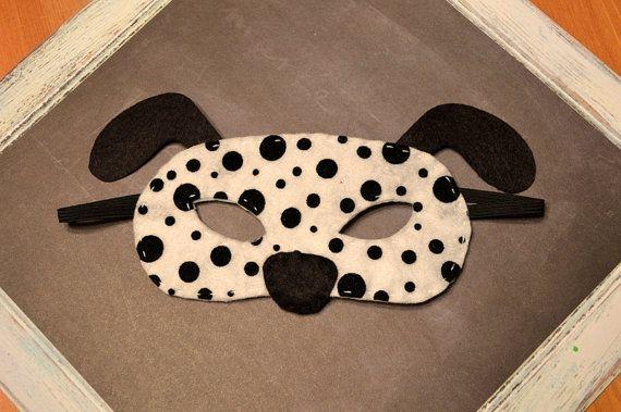 Dalmatian Felt Mask for Children, Dog Mask, Halloween, Dress Up, Puppy Mask, Pretend Play