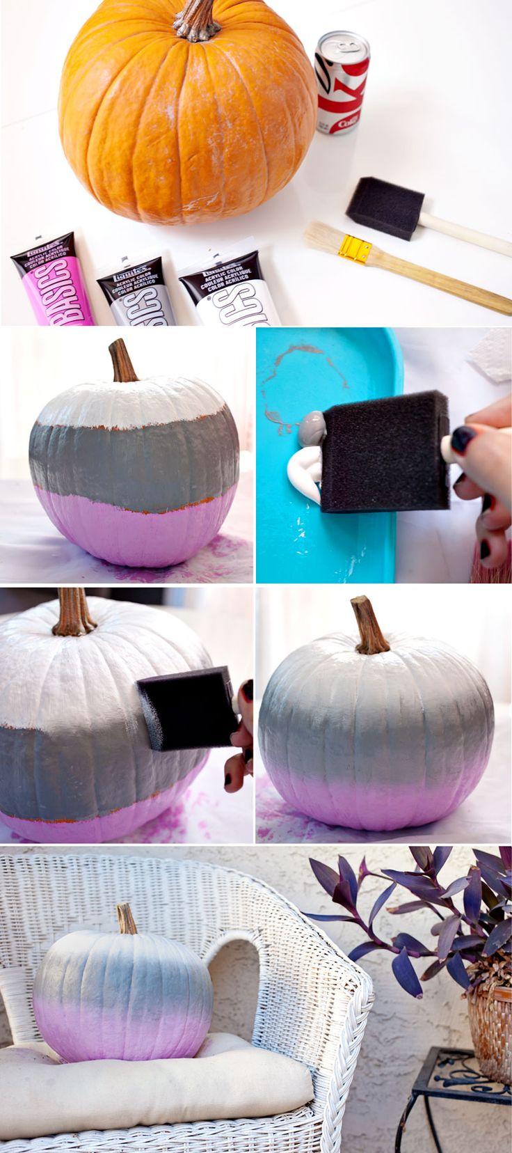 for the home, diy, halloween, pumpkin, painted pumpkin, ombre pumpkin