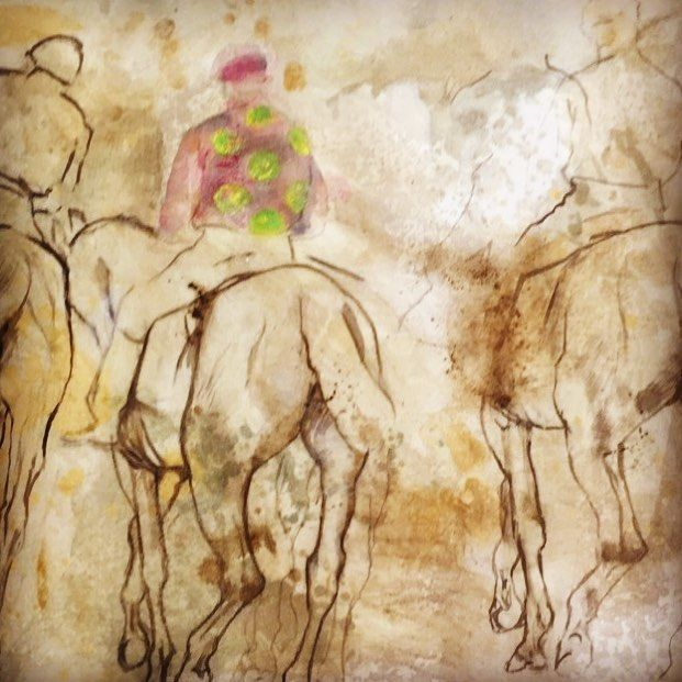 After Degas -A day at the races. I used degas sketches of jockeys and horses.  I'm going to paint the horses in a little but more.  I am trying to get the feel of an old drawing coming into the now. I am wondering if I should make the colours really strong or defused. I'll see tomorrow where it takes me. #contemporaryart #painting #paintingprocress #degas #racehorses #wip #drawing #charcoal #sepia #historyofart