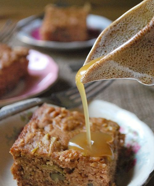 Old Fashioned Apple Spice Cake with Maple Glaze. The perfect desert to celebrate some Thanksgiving birthdays!
