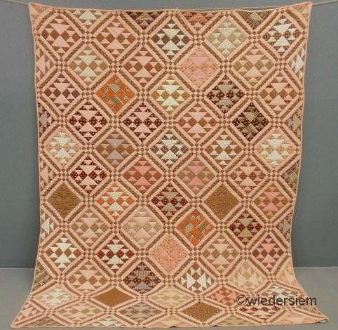 "Friend's new quilt //Pennsylvania quilt in the Old Maids pattern, c.1860, 60"" x 90"", Wiederseim Asso., Inc."